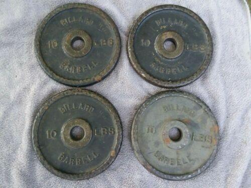 "4 Vintage Billard Barbell 10 Lb Dimpled Weight Plates 1"" Hole 40 Lb Total"