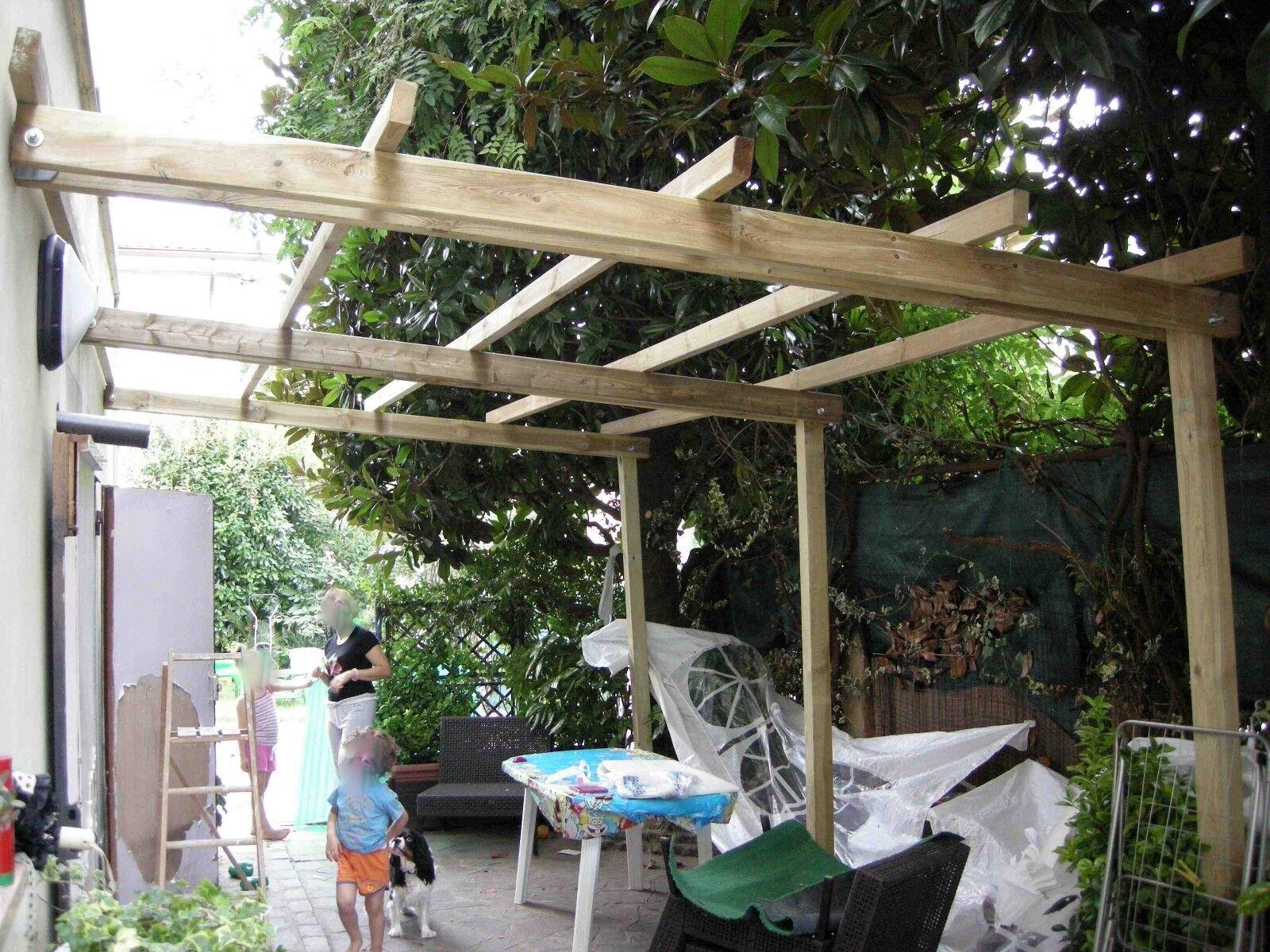 Pergola addossata in legno 5x4 mt copertura tettoia gazebo - Pergola da giardino ...