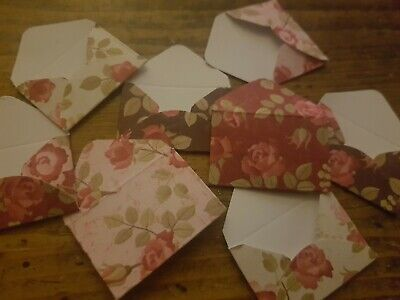 Mini envelopes  x 24 vintage floral rose flowers design scrapbook toppers card