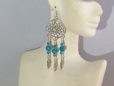 Gemstone Earrings - Blue Turquoise & 925 Sterling Silver - long dream catchers