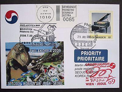 Österreich Brief Grussflugpost PM Klavier Philakorea 2009 Wien-Seoul Korean Air