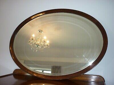 Antique Mahogany Framed Large Oval Bevelled Edge Mirror
