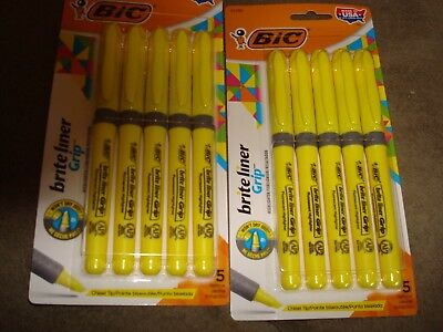 Bic Brite Liner Grip Yellow Highlighter 5 Highters Per Package Lot Of 2