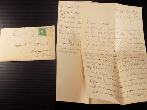WW1 Letter Home Ft. Dix N. J 1917 Company Getting Split up, More Men Coming In