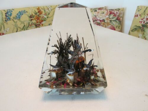 Vintage Unique Geese Woods Scene Encased in Lucite Canada Large Heavy 13.5 lbs