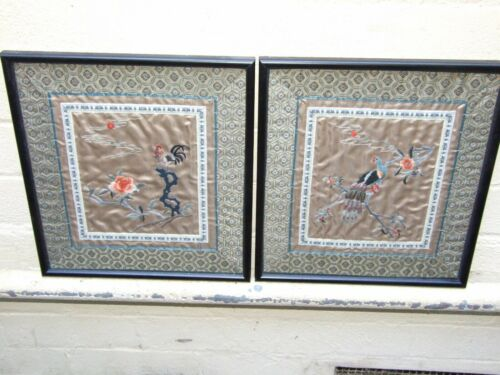 VINTAGE++2X++EMBROIDERED+SILK+ORIENTAL+Wall+ART+FLORAL+BIRDS+of+Paradise+Framed