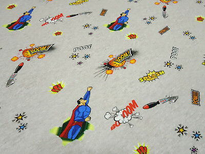 ey Superhelden Boom grau blau rot gelb bunt Kinderstoff (Blau Super-helden)