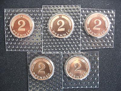 2 Pfennig 1998 A-D-F-G-J komplett Stempelglanz aus Kursmünzensatz in Folie