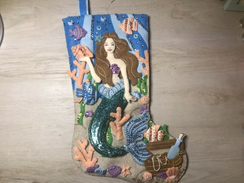Bucilla Sea Princess Mermaid Stocking Lined Finished Completed Already Made