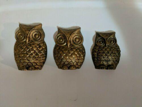 3 Piece Owl family Bird Metal Wall Art Sculpted Hanging Décor Lawn Garden Art