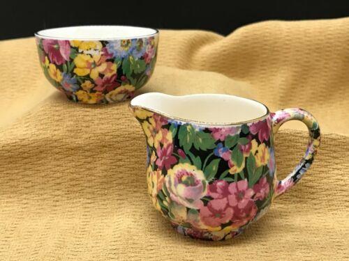 Vintage James Kent Ltd. Longton FLORITA Chintz Creamer & Sugar Breakfast Set