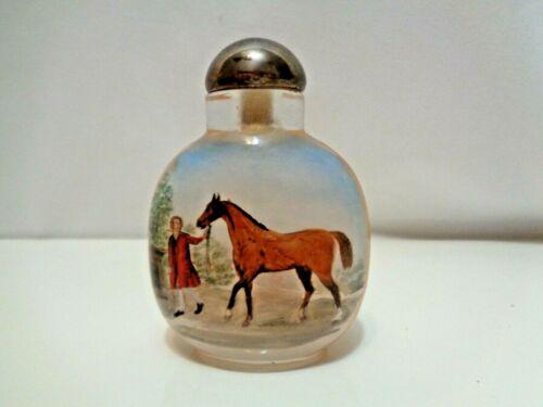 Reverse Painted Darley Arabian Horse Snuff Bottle Foundation Racehorse Sire