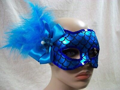 Blue Mermaid Costume Mask Aquatic Creature Sea Horse H2O Fairy Fish Siren - Fish Mask Costume