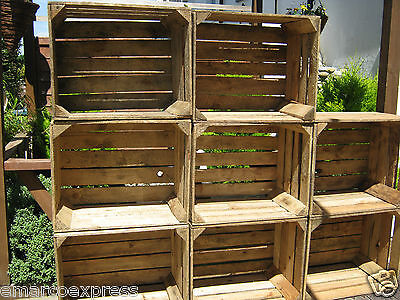 6 Wooden Crates Fruit Apple Boxes Vintage Home Decor Cleaned - Vintage Style