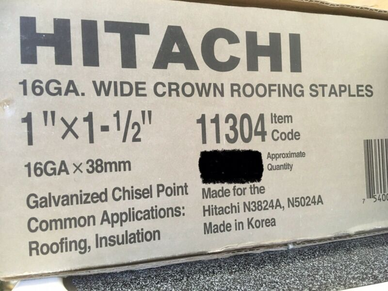"""Hitachi 16GA Wide Crown Roofing Staples 1""""x 1-1/2"""" Galvanized Chisel Point 2,500"""