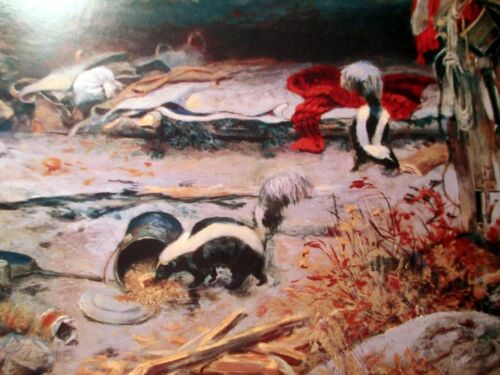 Old 1916 Trappers Camp Skunks Cowboy Museum Print by Charles Russell