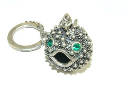 VTG STERLING SILVER TAXCO MEXICO HUGE PUFFY PUFFER BLOW FISH PENDANT KEYCHAIN