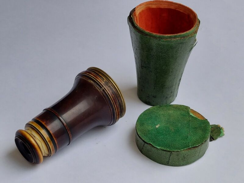 19th Century Lerebours French Horn and Brass Spyglass with Shagreen Case