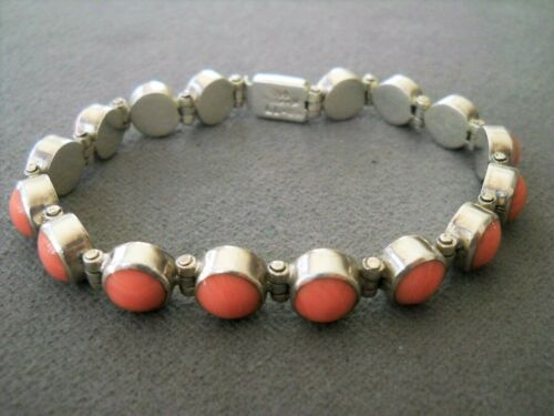 Southwestern Style Pink Coral Sterling Silver Hinged Panel Tennis Bracelet