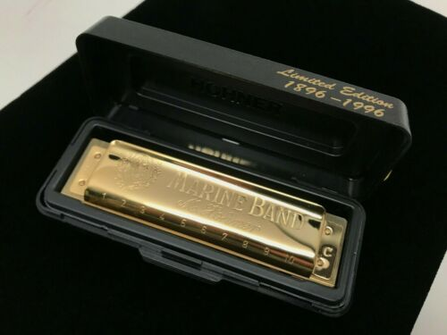 Limited Edition Gold Plated Hohner 1896 - 1996 Marine Band Harmonica C - A440