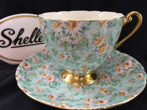 SHELLEY  MARGUERITE CHINTZ  RIPON SHAPE CUP AND SAUCER  #14265  GOLD TRIM
