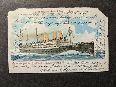 1909 German Steamship KAISER WILHELM II, Norddeutscher Lloyd Line Naval Cover - $9.99