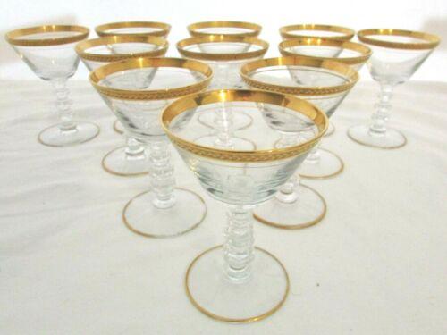 VINTAGE TIFFIN CRYSTAL11 ELEGANT GOLD APOLLO Champagne Sherbert Cordial Glasses