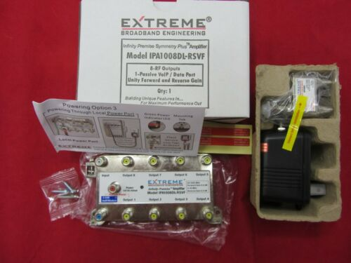 EXTREME IPA1008DL-RSVF AMPLIFIER CABLE SIGNAL BOOSTER W POWER SUPPLY & INSERTER