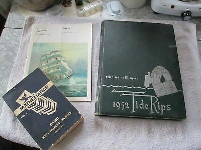 "3 Mil. Pubs.- Navy- ""The Eagle"" & Math Course  & 1952 Coast Guard  Yearbook"