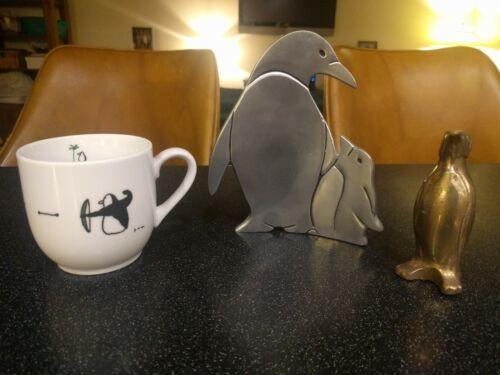 JUN TAKABATAKE CUPID PENGUIN COFFEE CUP EMPEROR BRASS PAPERWEIGHT SCULPTURE