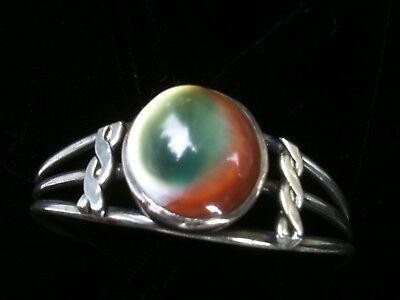 Vintage Operculum Silver Cuff Bracelet Cats Eye Shell Jewelry