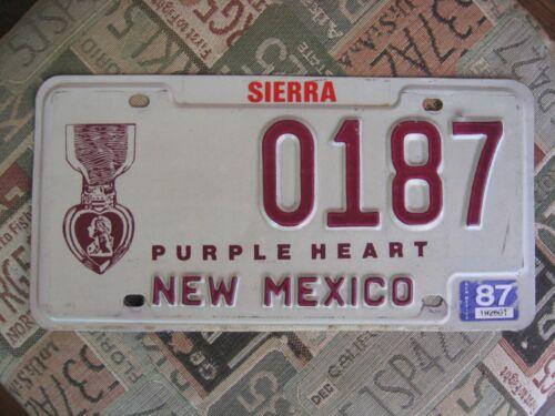 1987 New Mexico Purple Heart license plate