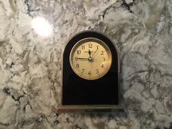 Vintage Howard Miller Midnight Arc Alarm Clock Tabletop Desk Mantel Shelf Black