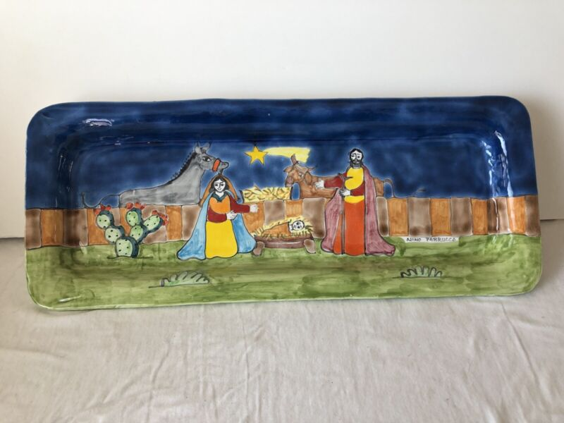 Nino Parucca Handpainted Platter Signed Nativity Scene Italy