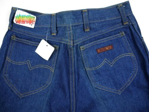 VINTAGE 70s WRANGLER dark jeans high waist USA DENIM womens 13 DEADSTOCK NWT 26w