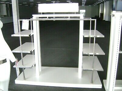 White Chrome Lauren Garment Rack  Shelving Display Combo Rack