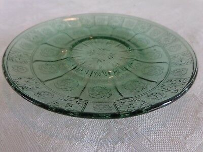 Jeannette Glass Doric & Pansy Pretty Polly Child Teal Ultramarine Saucer 1937-38