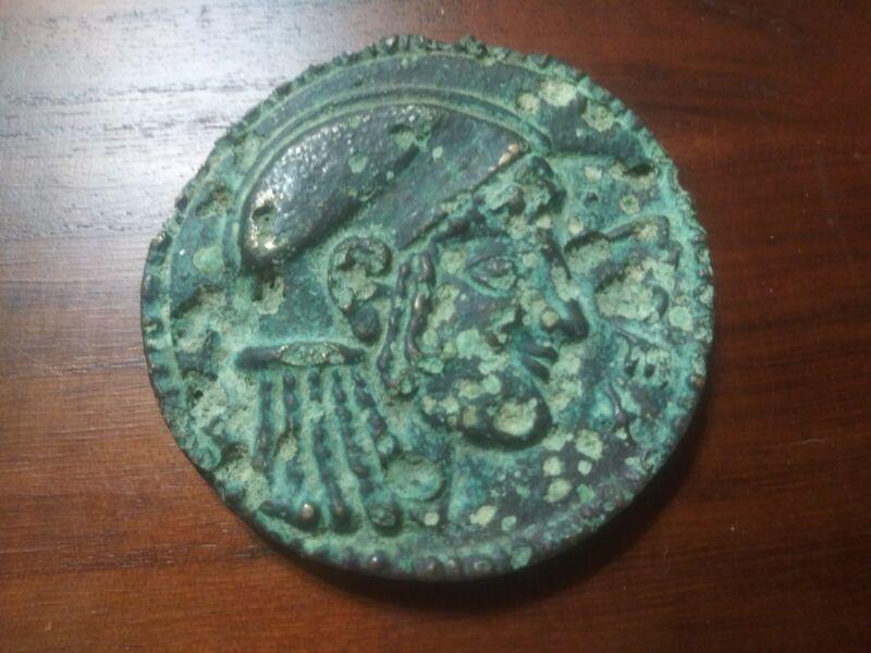 ANCIENT GREEK OR SUMERIAN MEDAL HUGE BRONZE