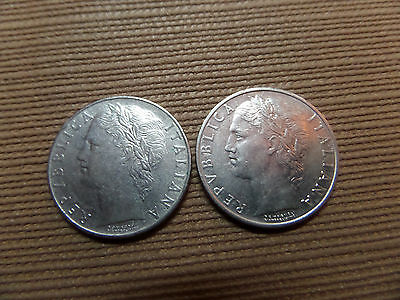 2 x 100 Lire Münzen Italien 1957 und 1966