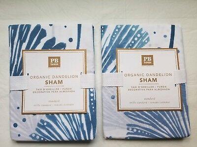 Pottery Barn Teen Organic Cotton DANDELION Sham Standard Set of 2 NEW Blue White Dandelion Organic Cotton