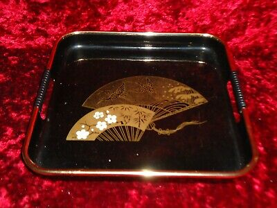 Superb Antique Chinese Japanese Gilded Black Lacquer Tray