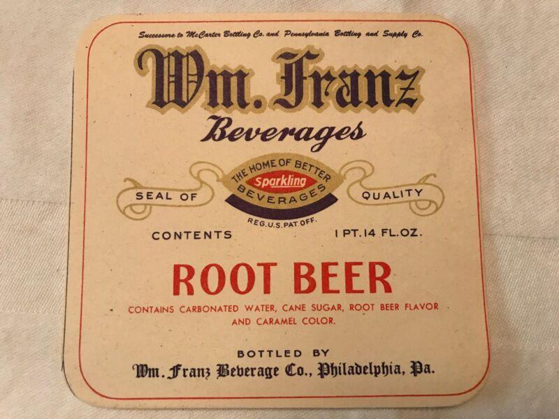 Wm. Franz Beverages Unused Root Beer Label, Philadelphia, Pa.