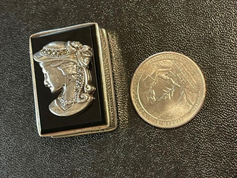 Antique Sterling Silver Pill Trinket box Lady Bonnet Black Top,Marcasites 925 Ex