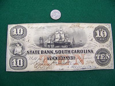 1860  10 State Bank  South Carolina Sc   Nice Xf Note   Free Ship