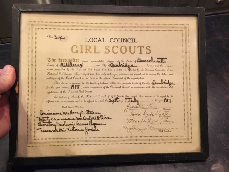 1917 Dated Girl Scout Cambridge, Mass No. 6 Charter Signed By Julette Low &