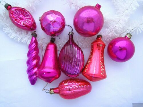 Lot of 9 Vintage USSR Russian Christmas XMAS New Year Glass Ornaments Purple
