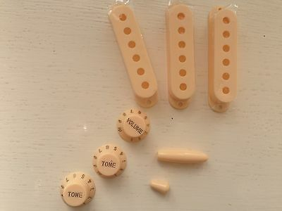 Cream Pickup Covers All 3x 52mm spacing + Knobs & Tips for...