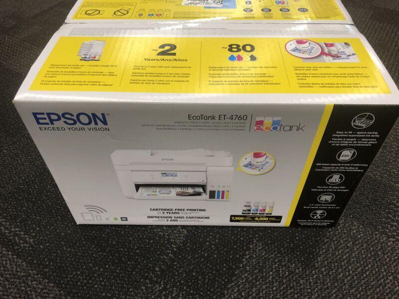 Brand New White Epson EcoTank WorkForce ET-4760 Inkjet AIO Photo Printer