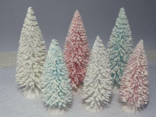 """Shabby Chic Flocked Bottle Brush Sisal Tree Christmas Easter Village 4"""" 5"""" Set 6"""