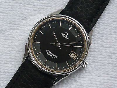 Vintage OMEGA SEAMASTER Stepped Pie pan quartz steel date Swiss Made Very Rare